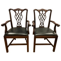 Set of Four Carved Mahogany Chippendale Armchairs