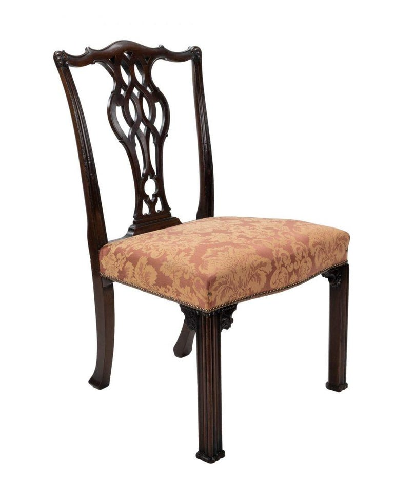 British Set of Four Carved Mahogany Chippendale Style Dining Chairs by Gillows For Sale