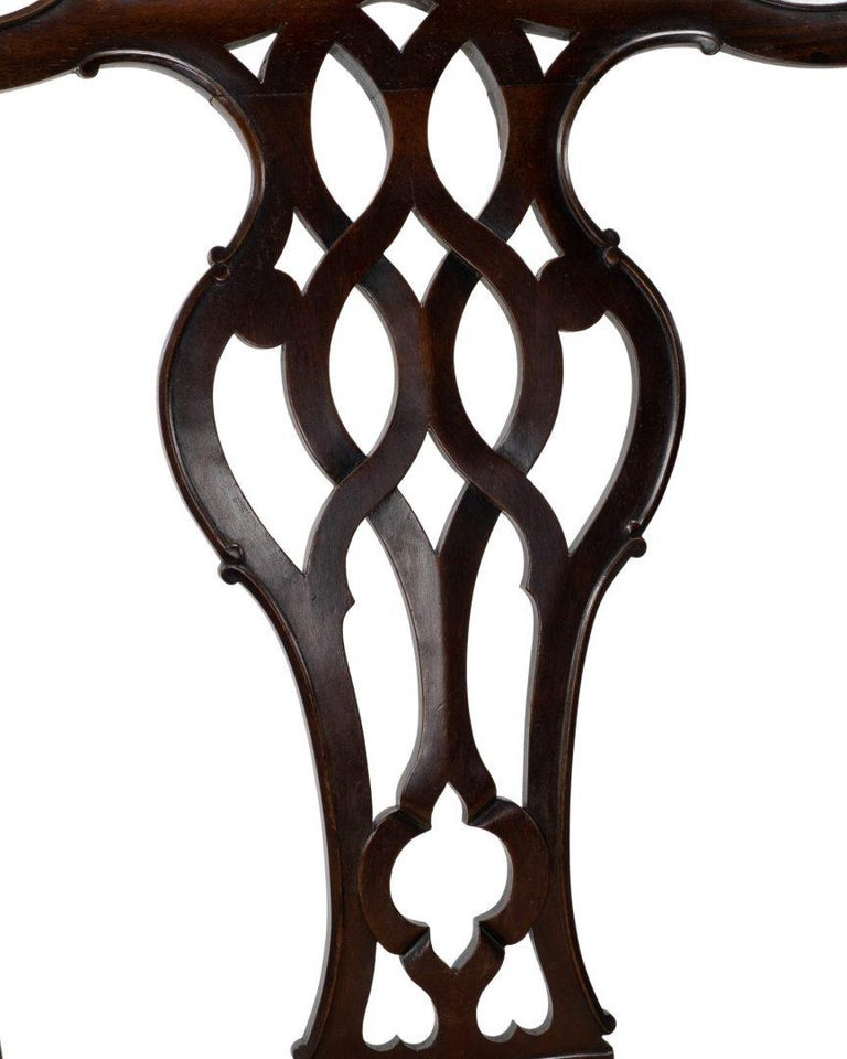 Set of Four Carved Mahogany Chippendale Style Dining Chairs by Gillows For Sale 1