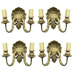 Set of Four Carved & Painted Shell Wall Sconces