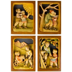 Set of Four Carved Wooden Pictures Four Seasons