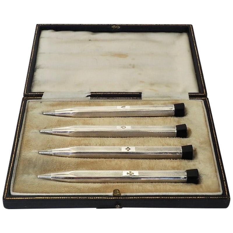 Set of Four Cased Swiss Sterling Silver Bridge Pencils, Circa 1920