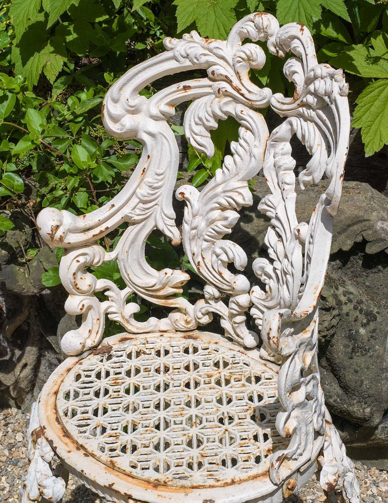 English Set of Four Cast Iron Victorian Garden Chairs For Sale