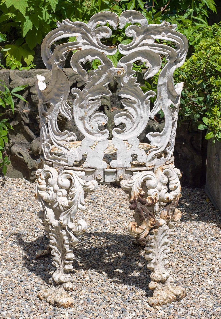 Set of Four Cast Iron Victorian Garden Chairs In Good Condition For Sale In London, GB