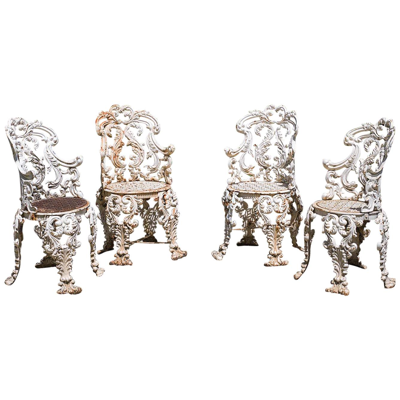 Set of Four Cast Iron Victorian Garden Chairs