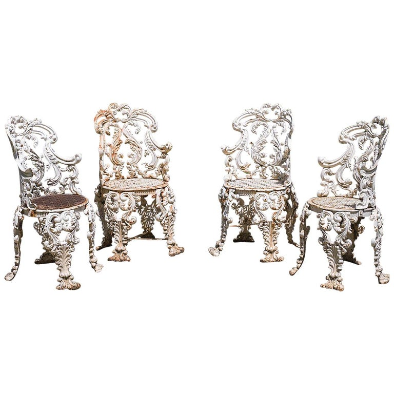 Set of Four Cast Iron Victorian Garden Chairs For Sale