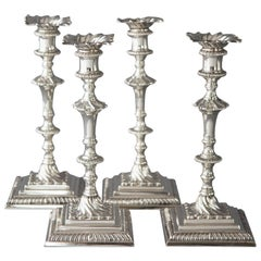 Set of Four Cast Silver Georgian Candlesticks, London, 1768