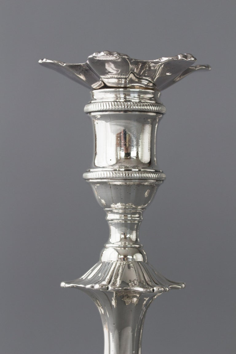 Set of Four Cast Silver Table Candlesticks, London, 1762 For Sale 3