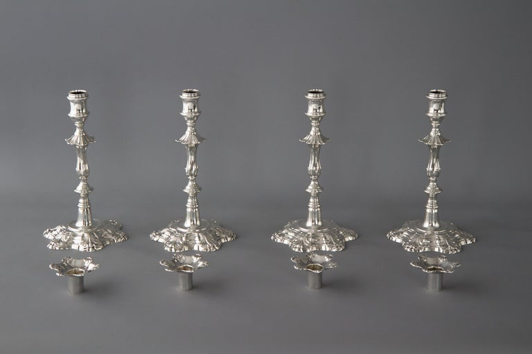 Set of Four Cast Silver Table Candlesticks, London, 1762 In Excellent Condition For Sale In Cornwall, GB