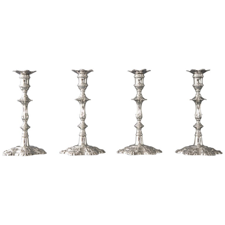 Set of Four Cast Silver Table Candlesticks, London, 1762 For Sale