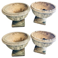 Set of Four Cast Stone Urns or Flower Pots