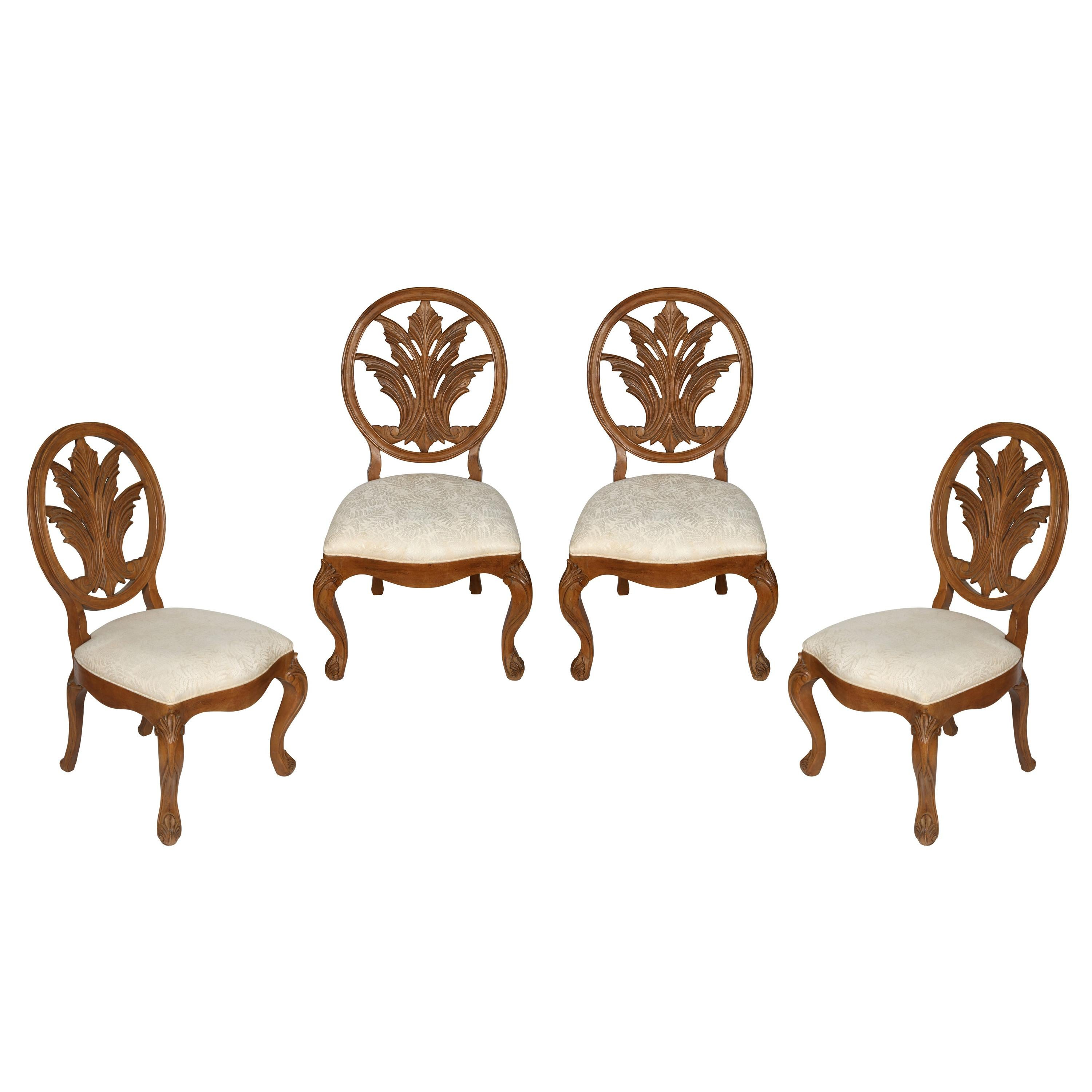 Set of Four Century Carved Oak Side Chairs