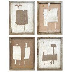Set of Four Ceramic and Concrete Sculptural Plaques