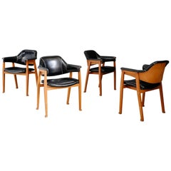 Set of Four Chair Attributed to BBPR in Wood and Black Leather, 1950s