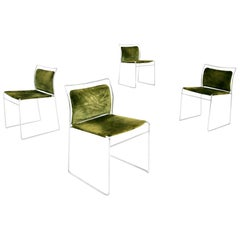 Set of Four Chair in Green Velvet by Takahama for Gavina Model Tulu, 1969
