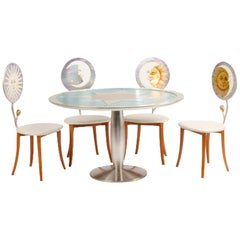 Set of Four Chairs and Table in the Fornasetti Style, circa 1985