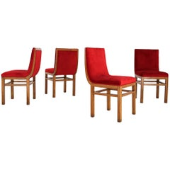 Set of Four Chairs Art Deco by Gino Levi Montalcini in Velvet and Rosewood,1940s