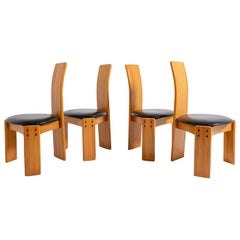 Set of Four Chairs by Afra & Tobia Scarpa in Wood and Leather, 1980s