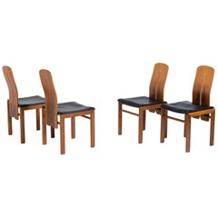 Set of Four Chairs by Carlo Scarpa in Black Leather and Wood, 1960s