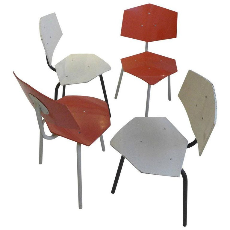 Set of Four Chairs by Dutch Company Auping For Sale