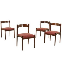 Set of Four Chairs by Gianfranco Frattini Rosewood Vintage, Italy, 1960s