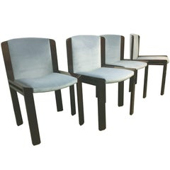 Joe Colombo for Pozzi Black wood and Blue velvet Dining Chairs