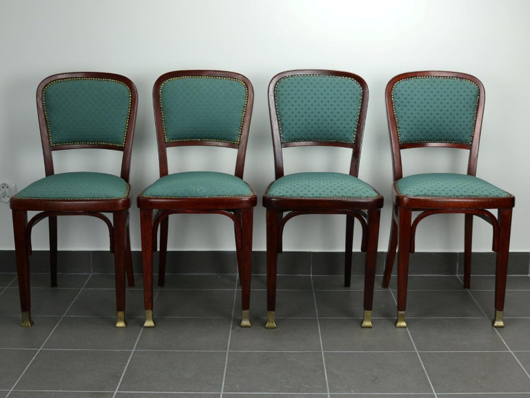 Set of four chairs by Marcel Kammerer for Thonet, circa 1906, part of Thonet salon suite Thonet no 6517. Repaired in the past.