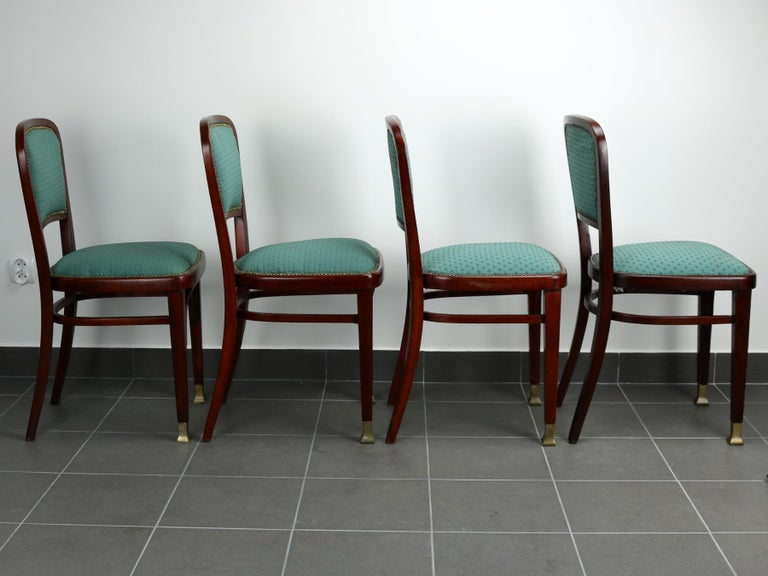 Austrian Set of Four Chairs by Marcel Kammerer for Thonet, circa 1910 For Sale