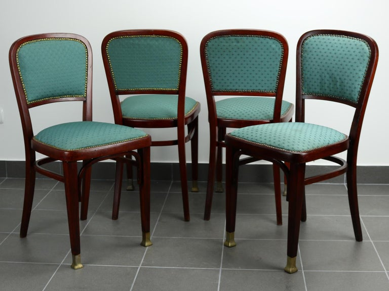 Set of Four Chairs by Marcel Kammerer for Thonet, circa 1910 In Good Condition For Sale In Lucenec, SK