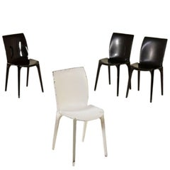 Set of Four Chairs by Marco Zanuso Metal Sheet Vintage, Italy, 1960s