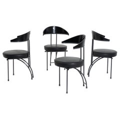 Set of Four Chairs by Philippe Starck Black Wood, 1970s