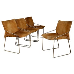 Set of Four Chairs by Willy Rizzo in Brass and Chamois Beige from the 1970s