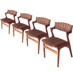 Kai Kristiansen Set of Four Chairs Birch Cotton. Denmark, 1960
