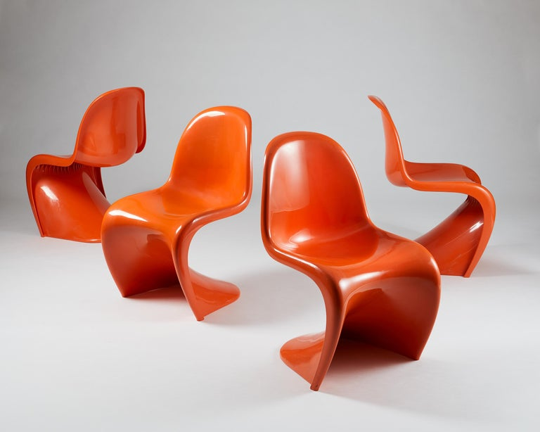 Mid-Century Modern Set of Four Chairs, Designed by Verner Panton for Herman Miller, Usa, 1960s For Sale