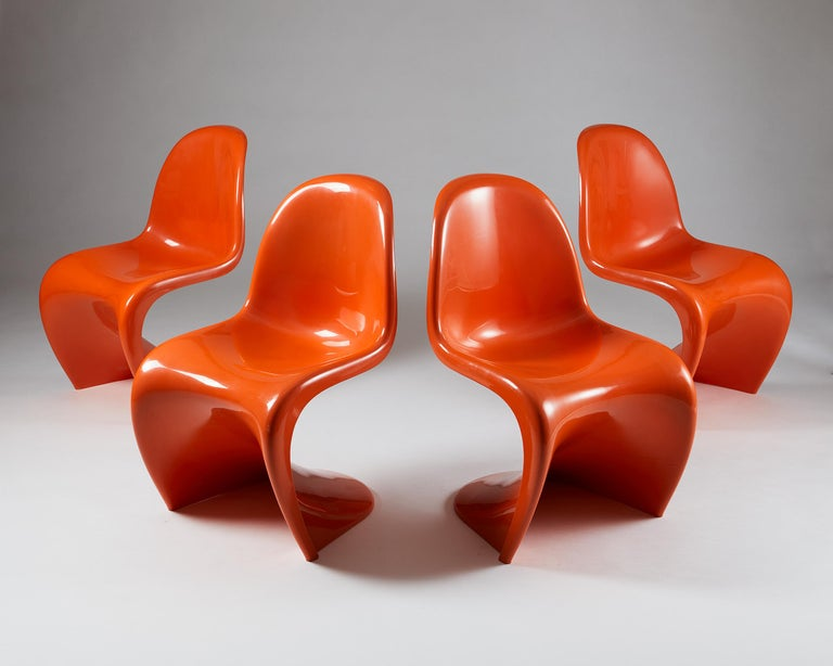 Central American Set of Four Chairs, Designed by Verner Panton for Herman Miller, Usa, 1960s For Sale