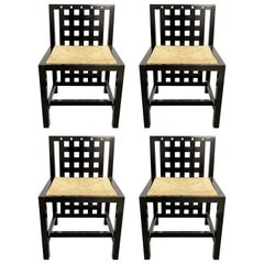 Set of Four Chairs Ds3 Charles Rennie Mackintosh Original Design Made in Italy