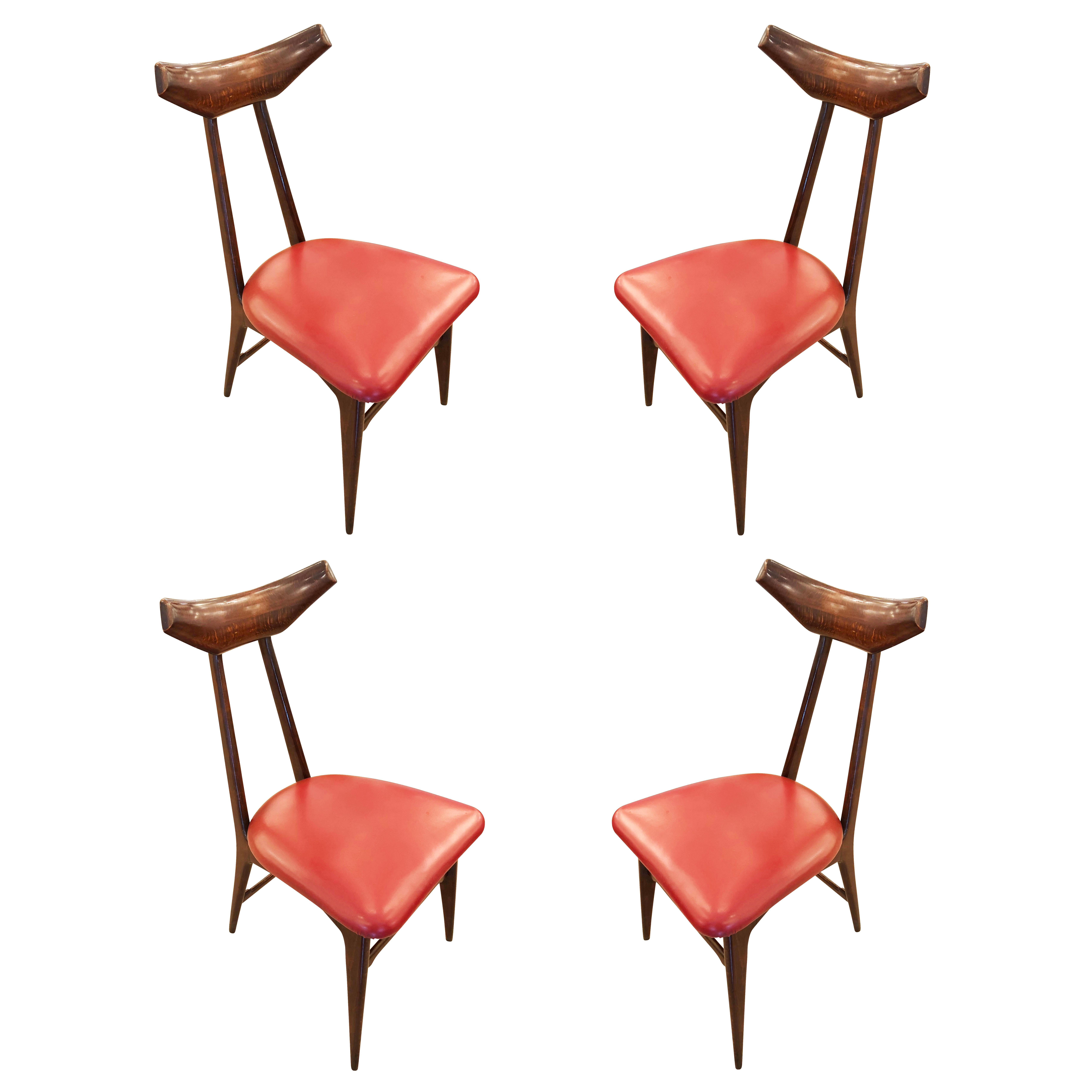 Set of Four Chairs in the Manner of Ico Parisi