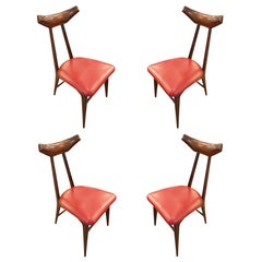Sedie Thonet In Ferro.Handcrafted Set Of Four Pinewood Chairs In Enzo Mari Manner Sedia 1