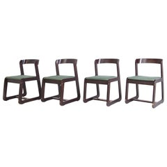 Set of Four Chairs in Wood and Fabric by Willy Rizzo for Mario Sabot, 1970