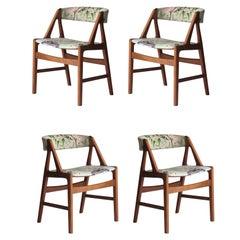 "Kai Kristiansen Scandinavian Multicolour Danish Set Four Chairs ""Model 31"", 1960"