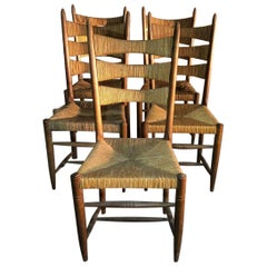 Set of Four Chairs Straw and Oak