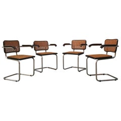 Set of Four Chairs with Arms in the Style of Cesca from 1970s