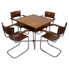 Set of four chairs with table by Robert Slezák, functionalism, 1935