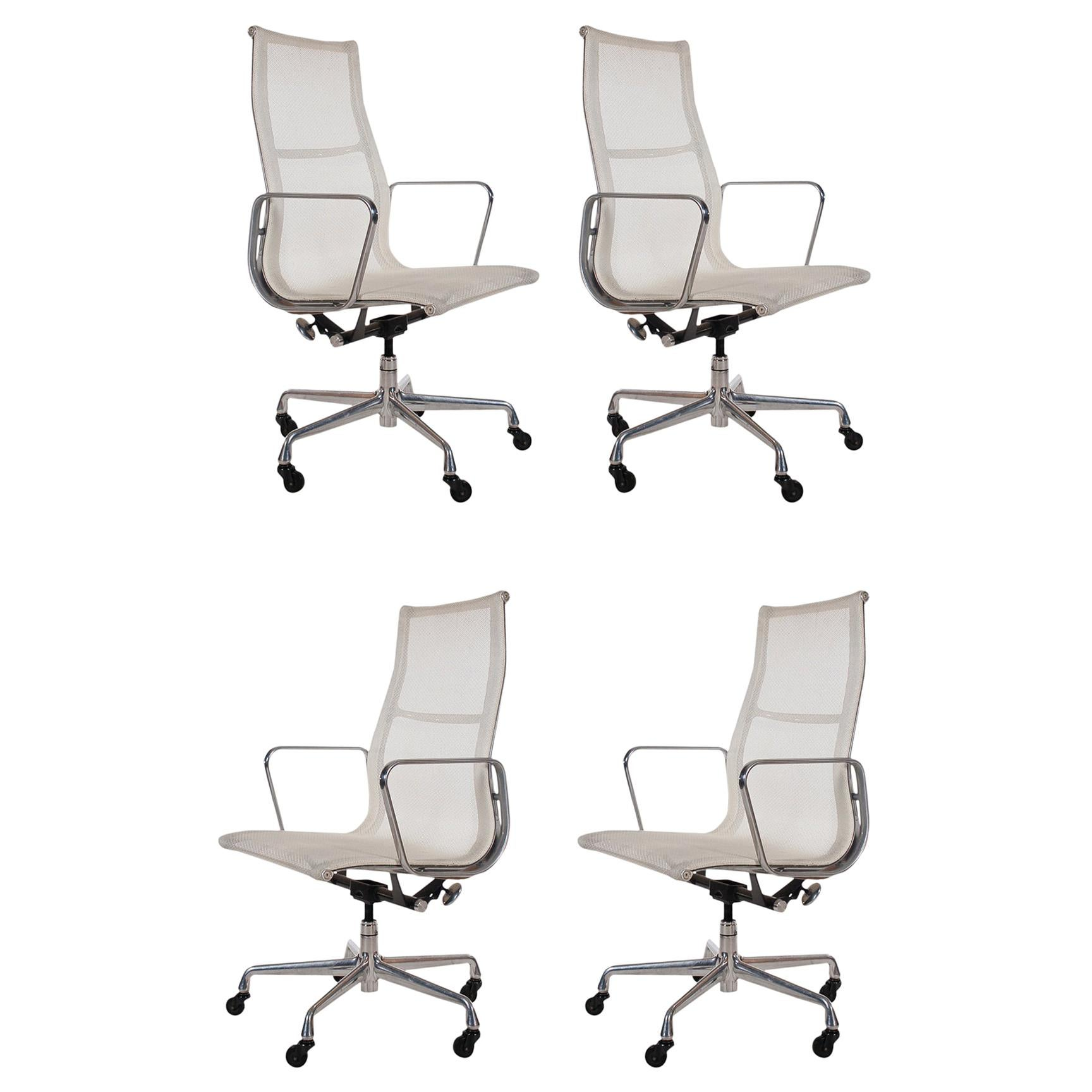 Set of Four Charles Eames for Herman Miller White Conference Room Office Chairs