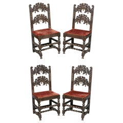 Set of Four Charles II Oak Dining Chairs