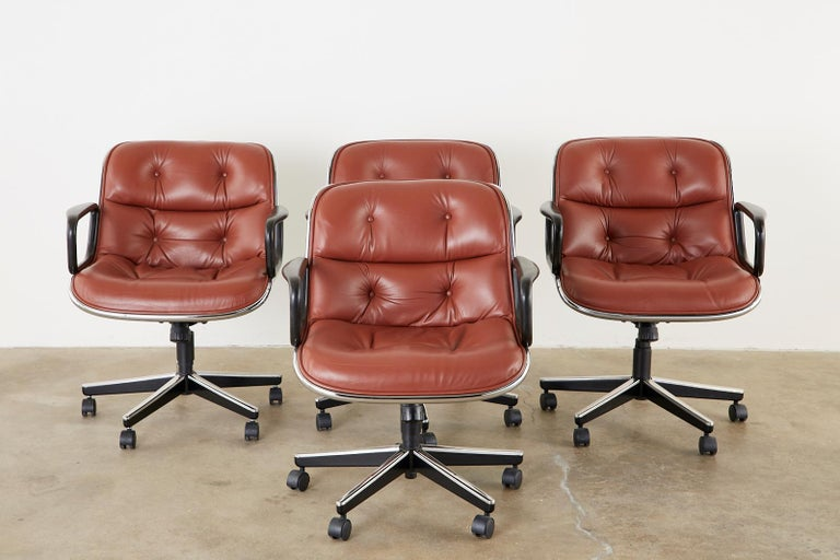 American Set of Four Charles Pollock for Knoll Leather Executive Desk Chairs For Sale