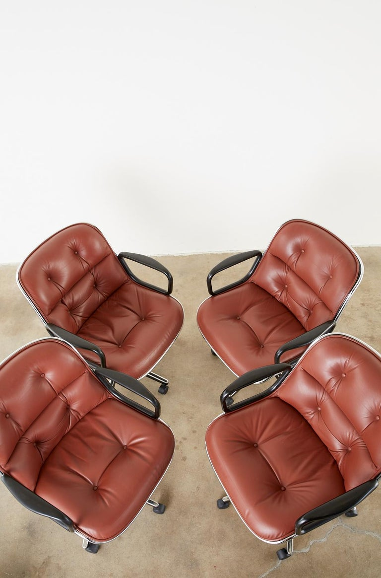 Contemporary Set of Four Charles Pollock for Knoll Leather Executive Desk Chairs For Sale