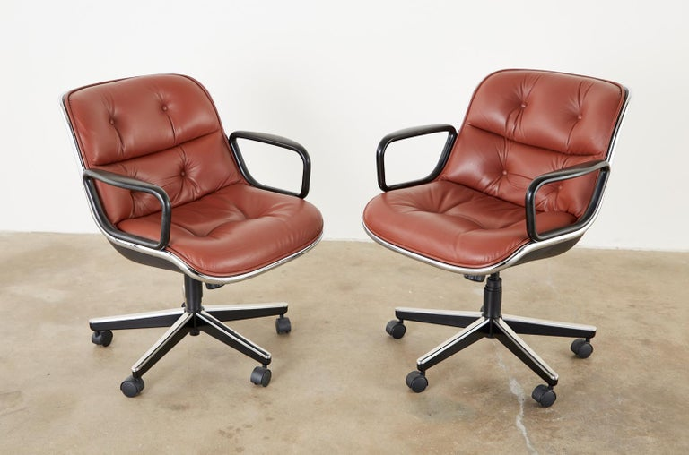 Aluminum Set of Four Charles Pollock for Knoll Leather Executive Desk Chairs For Sale