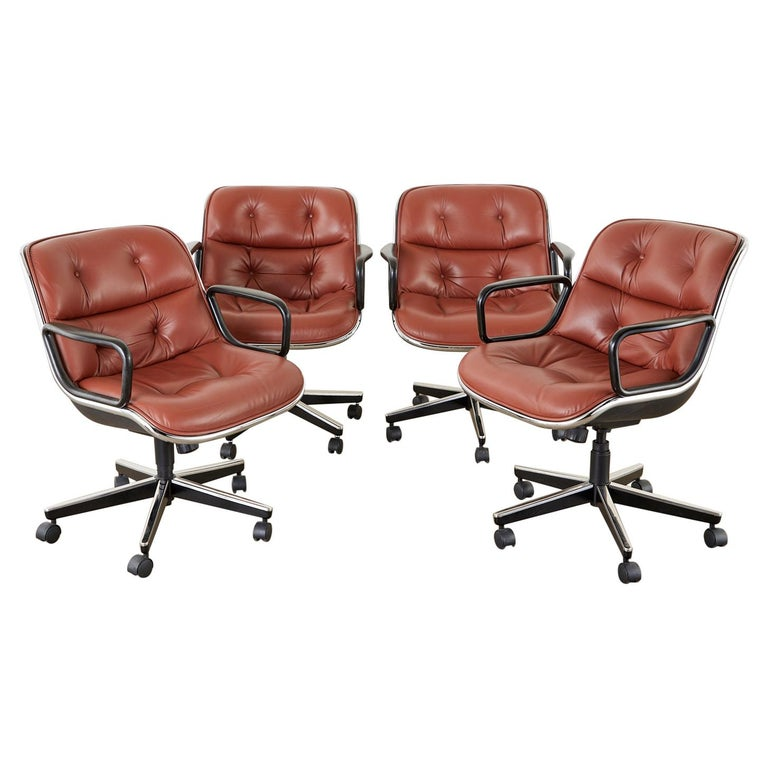 Set of Four Charles Pollock for Knoll Leather Executive Desk Chairs For Sale