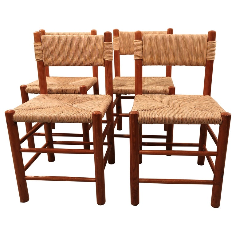 """Set of Four Charlotte Perriand """"Dordogne"""" Chairs for Robert Sentou, 1950s For Sale"""
